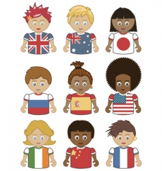 Children flag icons vector