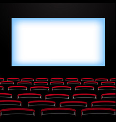 Cinema auditorium with screen and seats vector