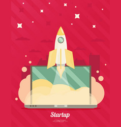 Flat concept background with rocket project start vector