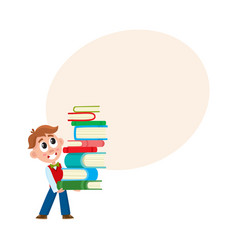 School boy holding huge stack pile of books vector
