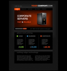 Web hosting web page template vector