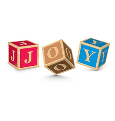 Word joy written with alphabet blocks vector