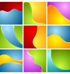 Abstract bright wavy backgrounds set vector
