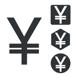 Yen icon set monochrome vector