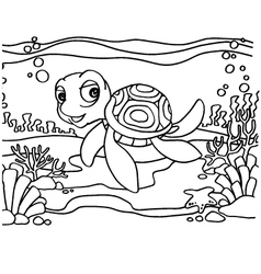 Turtles coloring pages vector