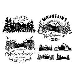 monochrome patterns landscape with mountains and vector image
