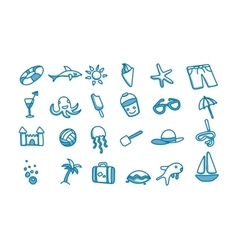 Beach doodle icons vector