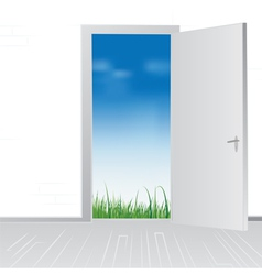 Open door to nature vector