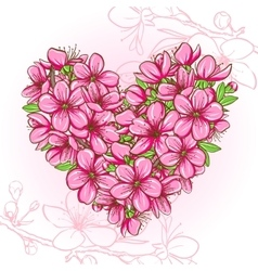 Peach blossom in the shape of heart vector