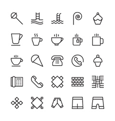 Hotel outline icons 12 vector