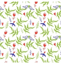 Seamless pattern with red flowers and birds vector