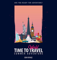 around the world time to travel journey trip vector image