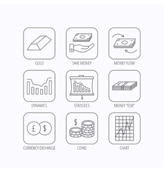 Banking cash money and statistics icons vector image vector image
