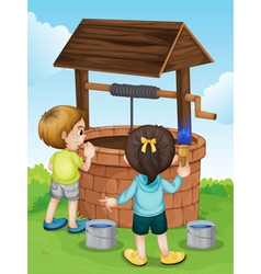 Cartoon kids water well vector