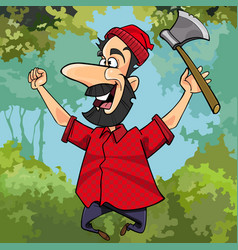 cartoon lumberjack with axe joyously jumping vector image vector image