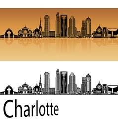Charlotte skyline in orange vector
