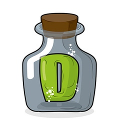 D in bottle Green letter in blue glass jar Magic vector image vector image