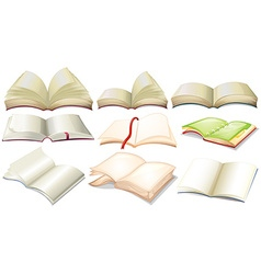 Different design of books and notebooks vector