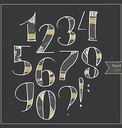 English hand drawn funky digits decorated and vector
