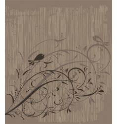 floral ornament on grunge background vector image