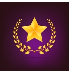 Golden laurel wreath with star vector image