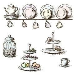 Hand drawn of kitchen utensils vector image vector image