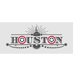 Houston city name with flag colors styled letter O vector image vector image