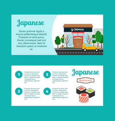 Japanese food shop horizontal flyers vector
