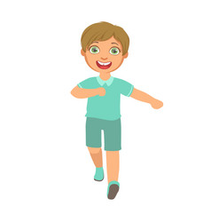 little boy running in a blue shirt and shorts and vector image vector image