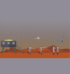 mars mission concept in flat vector image
