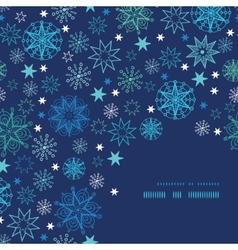 Night snowflakes frame corner pattern background vector