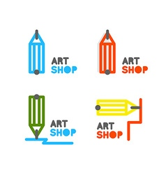 Pencil logo outline pencil icon stationery store vector