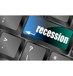 Recession button on computer keyboard key vector