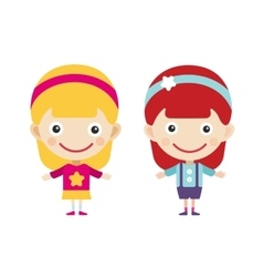 Redhead and blonde cartoon girls in vector