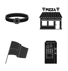 Ring pizzeria and other web icon in black style vector