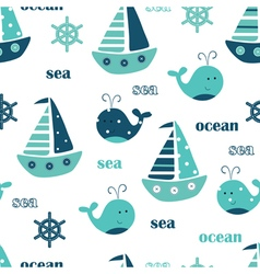 Seamless pattern with ships and whales vector image