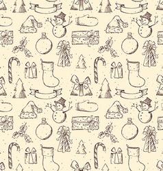Seamless sketch christmas pattern vector