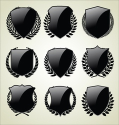 Shield and laurel wreath vector image vector image