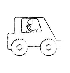 Sketch man worker drive truck vector