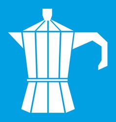 Steel retro coffee pot icon white vector