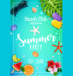 summer party poster design vector image vector image