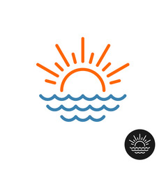 Sun rays and sea waves logo vector