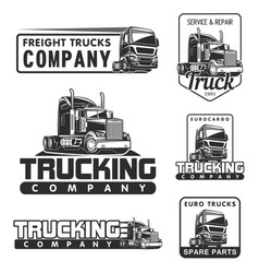 truck logo set service and repair black white vector image vector image