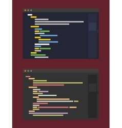 Two color themes of developer code editor flat vector