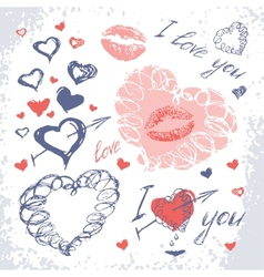 Valentine set with hearts Hand Drawn vector image vector image