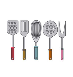 white background with set collection kitchen vector image