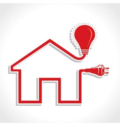 Wired home icon with bulb and plug vector