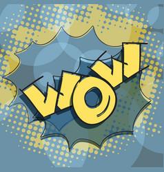 wow text pop art humor surprise vector image