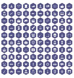 100 film icons hexagon purple vector