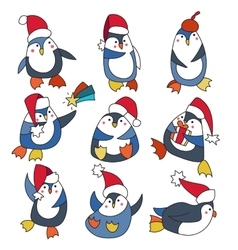 Penguin in christmas hat doodle vector